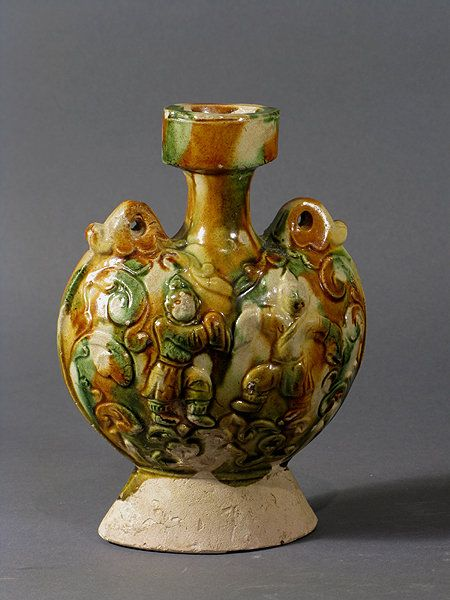 Sancai Pilgrim Flask Tang Dynasty Chinese Antique In
