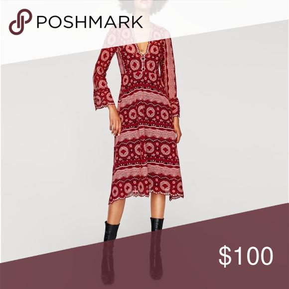 Zara Crochet Midi Dress Nwt Crochet Midi Dress