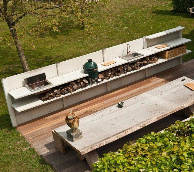 Outdoor modular kitchen by wwoo incl big green egg for Outdoor kuchen module