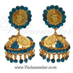 Lakshmi Design Turquoise Colour Stone Umbrella Jumkha Indian Earring Ear Studs