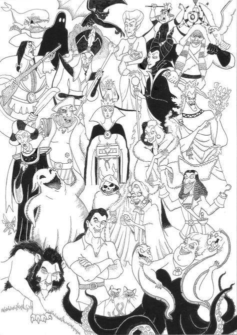 Disney Villains Coloring Pages Disney Villains Compilation By 010001110101 On Deviantart With Images Disney Coloring Pages Disney Adult Coloring Books Coloring Books