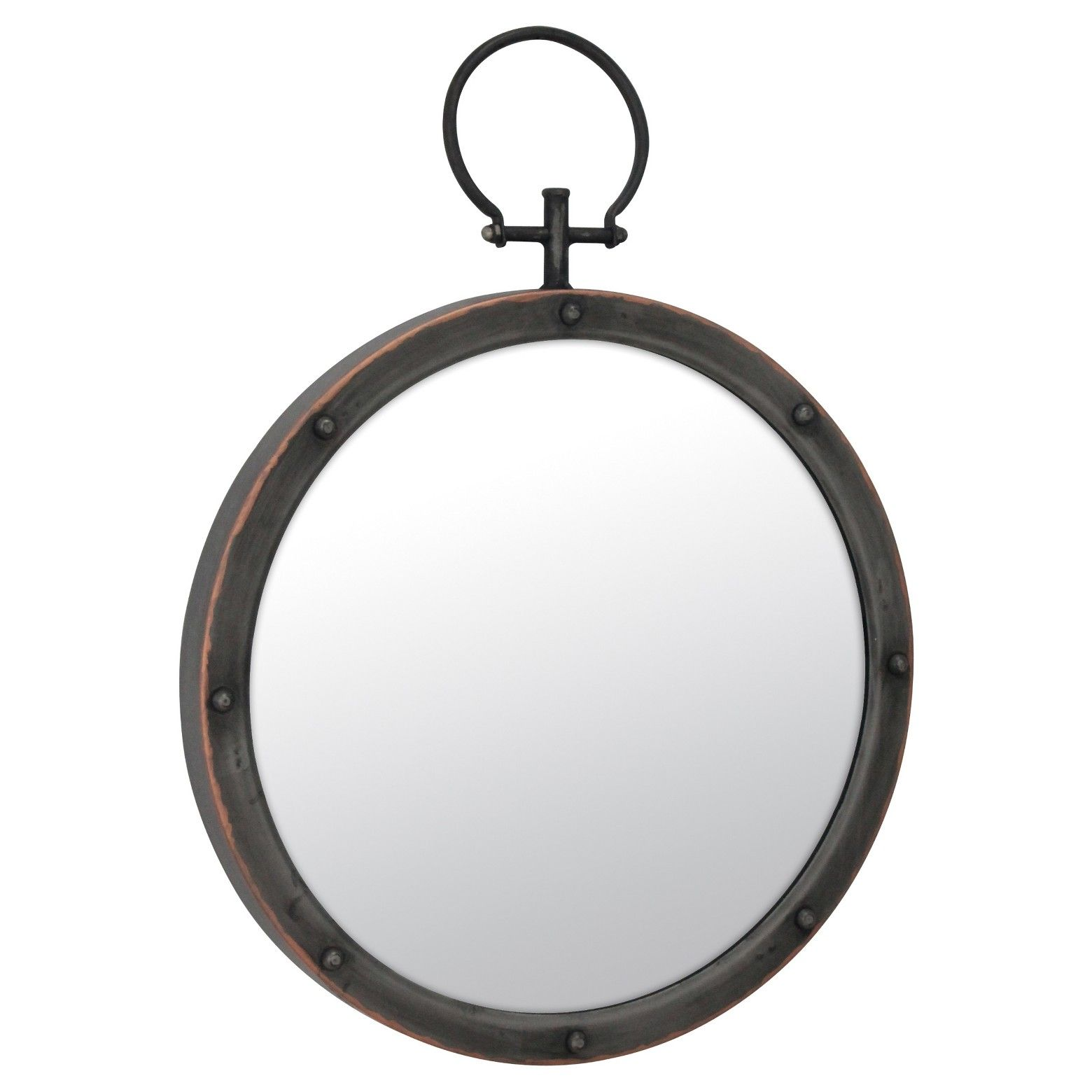 Ckk home decor round wall mirror with ring u rivet trim dark gray