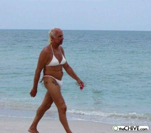 In bikini man old Elderly man