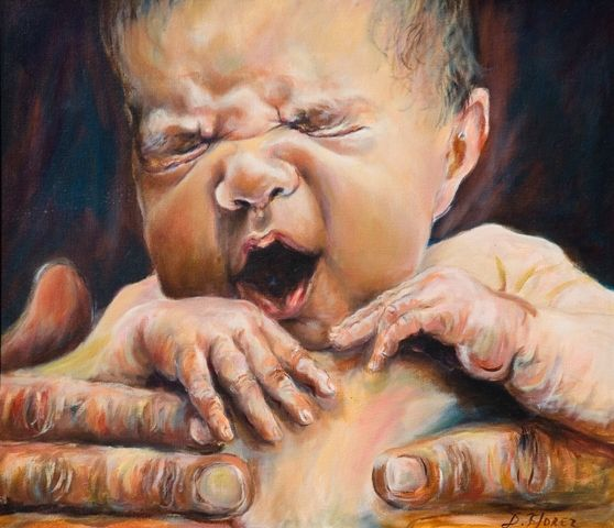 De Mi Serie Bebes Pintado Al Oleo Sobre Lino Belga Dorian Florez Portrait Art Portrait Art Painting