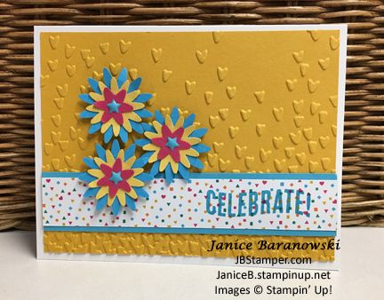 Celebrate-falling-petals-sggw-wc-jan-27-17, Birthday Banners, Celebrate Today, Blossom Bunch punch, Falling Petals embossing folder, Enameled shapes
