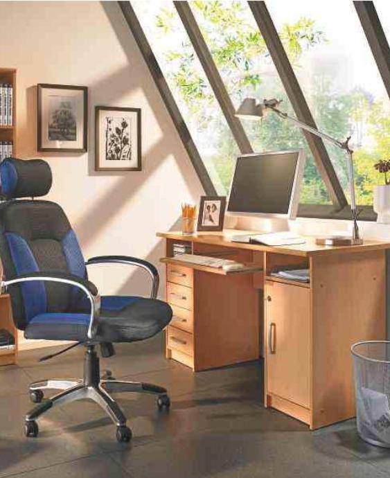 Holzfarbener Schreibtisch, Buchefarben