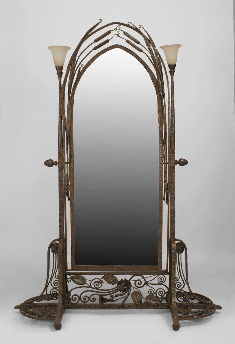 French Art Deco Wrought Iron Cheval Mirror Attributed to Paul Kiss ...