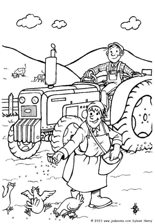 Coloriage Sur La Ferme Avec Un Tracteurs Et Deux Fermiers Un Dessin