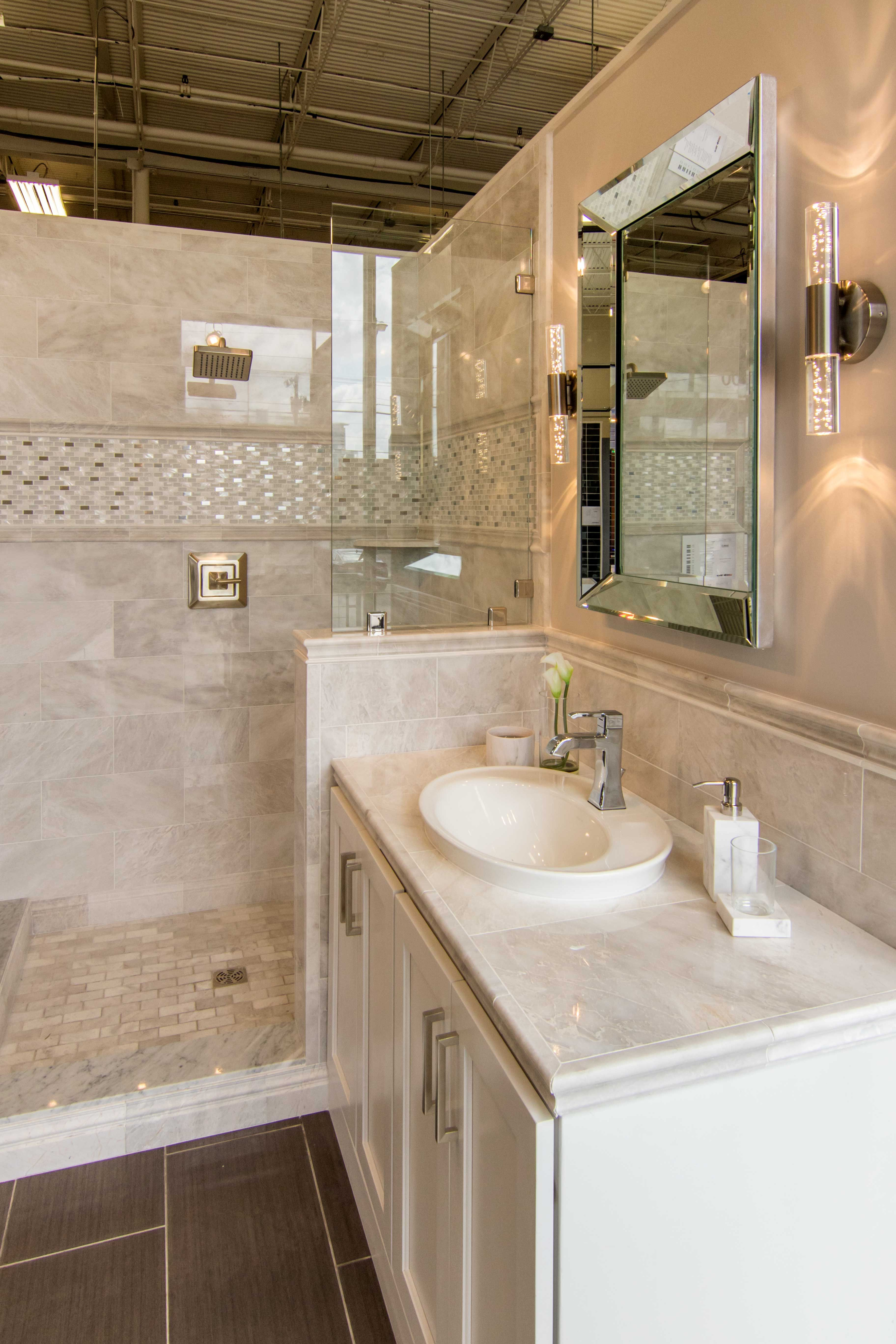 Polished marble tiles bathroom - Meram Blanc Carrara Polished Marble Floor Tile 12 X 24 In