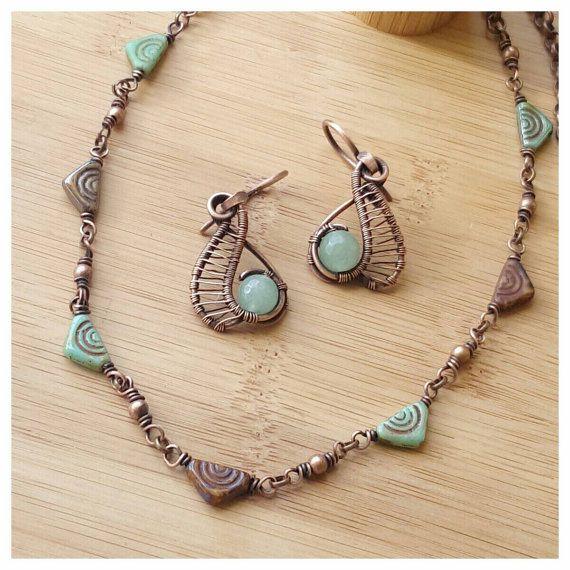 bohemian jewelry set, boho copper jewelry, hippie jewelry, aventurine Earring wire, wire necklace, czech glass necklace, copper wire gemstone jewelry, unique Earring design copper, green jewelry wire wrap