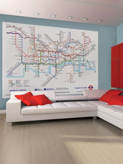 London subway map wall mural around the home pinterest london subway map wall mural sciox Images