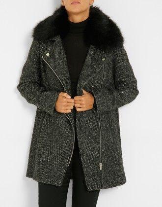 Esprit perfecto pour ce manteau aspect chiné. Zip devant, finition  contrastée sur le zip d6c5a8176de