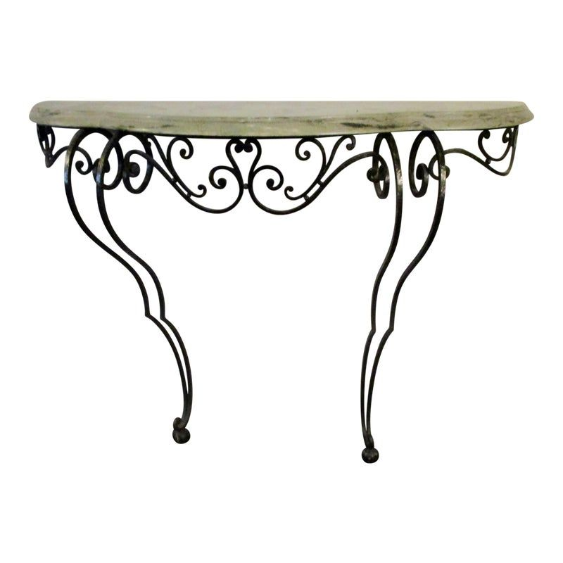 Wrought Iron Marble Two Legged Console Table In 2020 Wrought