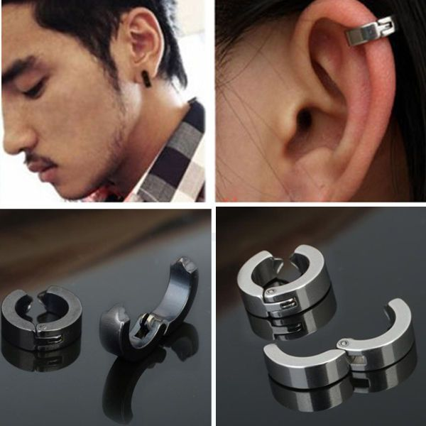 febb8416c 1 Pair Unique Cool Mens Stainless Steel Hoop Piercing Ear Earring Studs  Jewelry