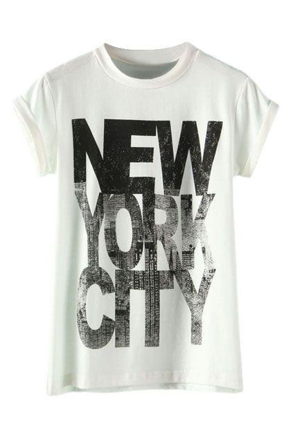 New Summer Round Collar Tees Short Tops Sleeve Printed Street Wear Female Shirt