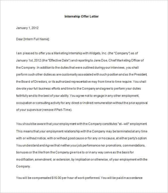 offer letter template free word pdf format amp premium business - Internship Proposal Example