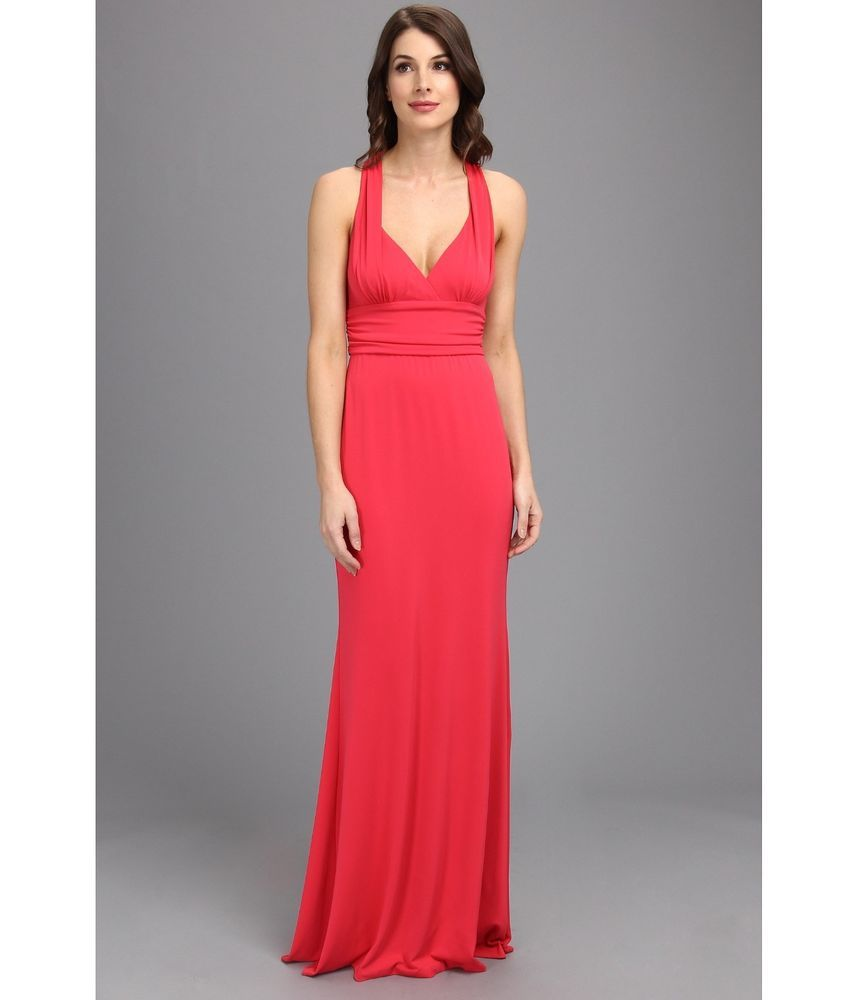 Nicole Miller Stretchy Matte Jersey Halter Gown Candy Pink ...