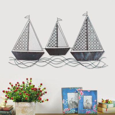 Breakwater bay decorative distressed three sailboats iron widget wall decor also rh pinterest