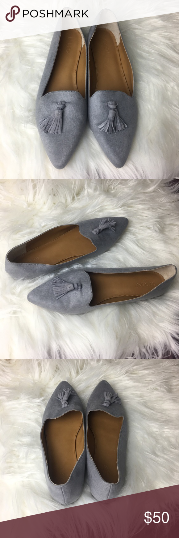 96defa62906 J. Crew Edie Loafers Gray with tassels Size 9.5 J. Crew Edie Loafers Gray  micro suede flats with tassels Size 9.5 Tried on a few times but never worn.