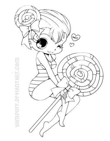 Chibi Lollipop Girl Coloring page | Patterns | Pinterest | Chibi ...