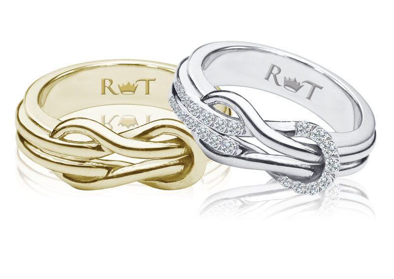 knot wedding solid strand gold nautical rose love rings double ring engagement