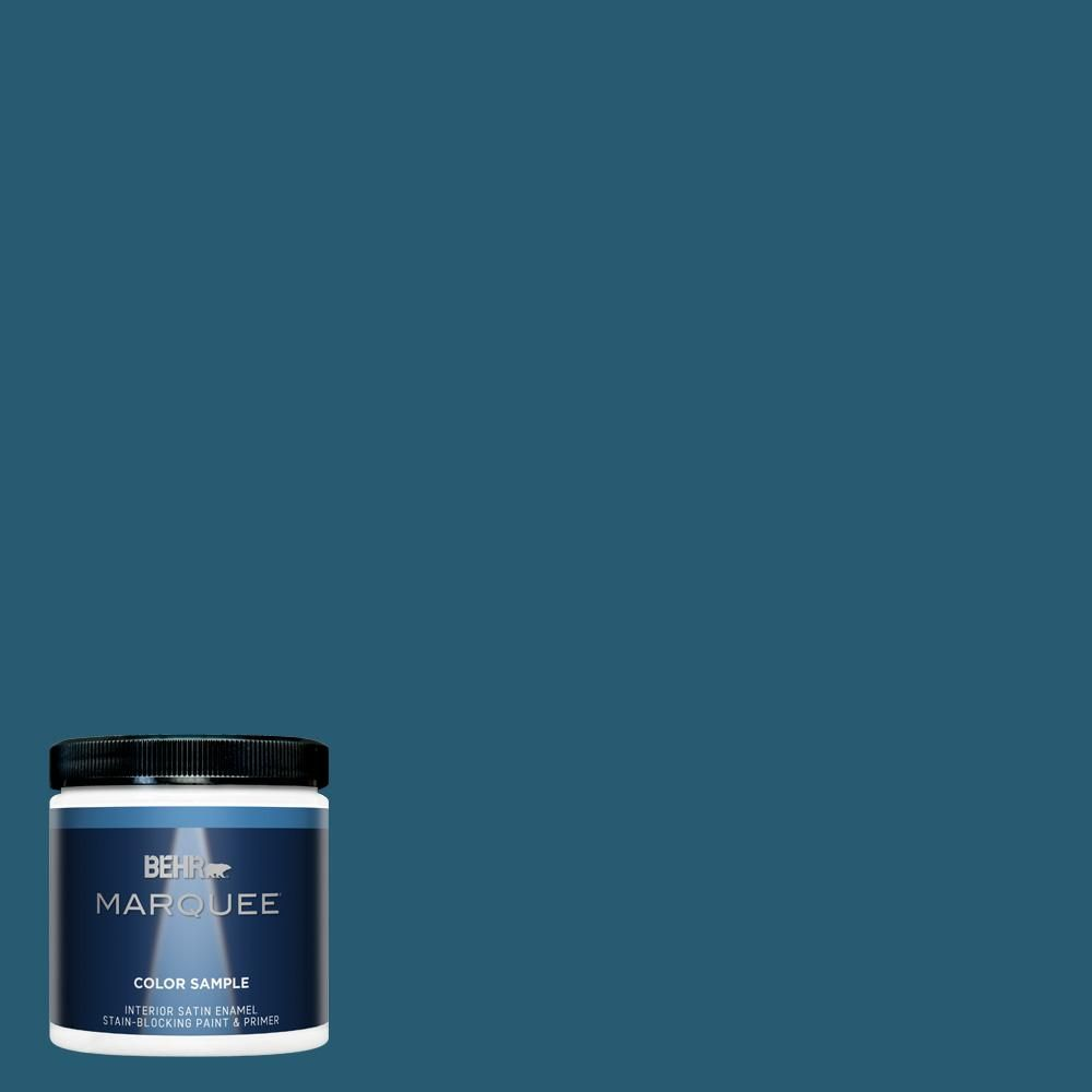 Behr Marquee 8 Oz 540d 7 Deep Blue Sea Satin Enamel Interior Exterior Paint Primer Sample Mq32316 The Home Depot Behr Marquee Interior Paint Behr Marquee Paint
