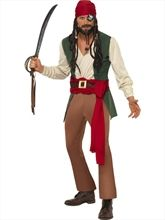 Pirate Buccaneer Caribbean Adult Headscarf And Beard Costume Accessory Mens New