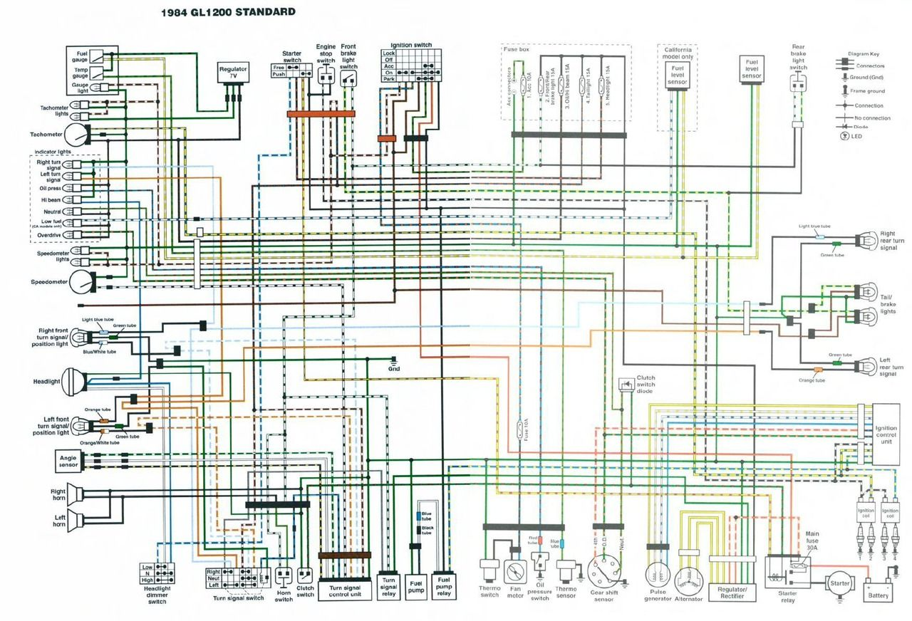 medium resolution of 1984 gl1200 standard colour schematic wiring diagram page 1984 goldwing radio wiring