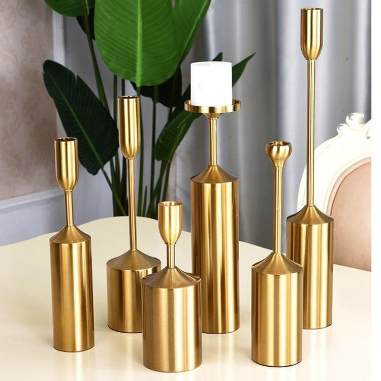 Modern Style Golden Plated Metal Candlestick Set Of 6 Gold Home Decor Candle Holders Metal Candle Holders