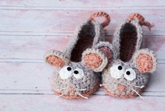 Мыши мягкие тапочки вязание ручной мышей по CrazyFoxDesign