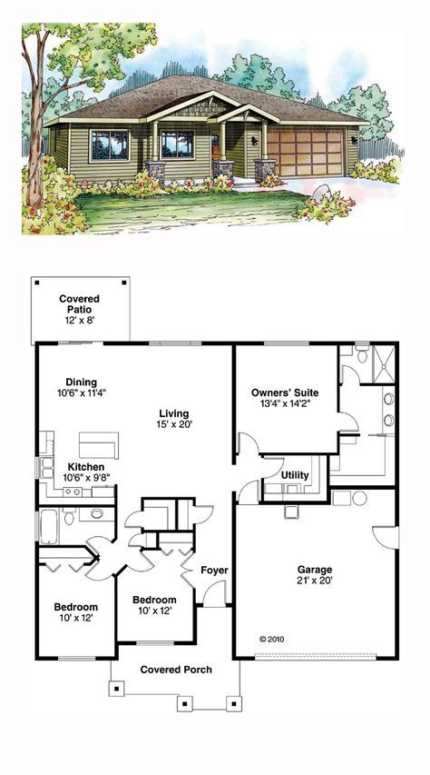 Ranch Style House Plan 59411 with 3 Bed, 2 Bath, 2 Car Garage