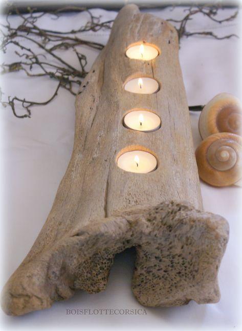 Boisflottecorsica. Des idées déco en bois flotté, chantournage et fabrication de photophores en cire.