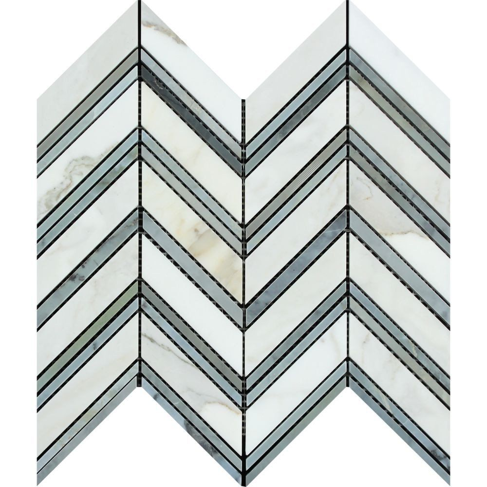 Calacatta Gold Honed Marble Large Chevron Mosaic Tile w/ Blue-Gray ...