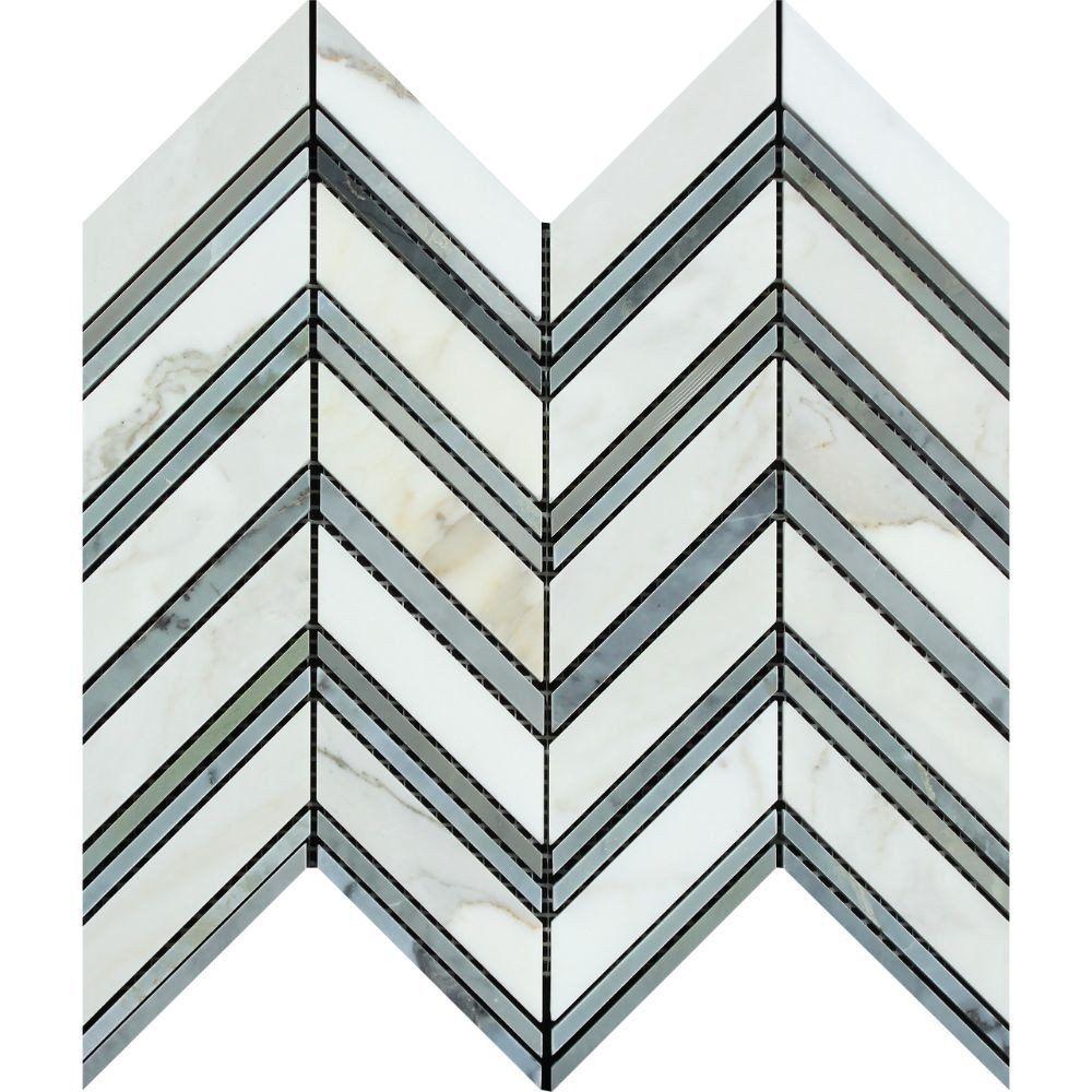 Calacatta Gold Honed Marble Large Chevron Mosaic Tile w/ Blue-Gray ...