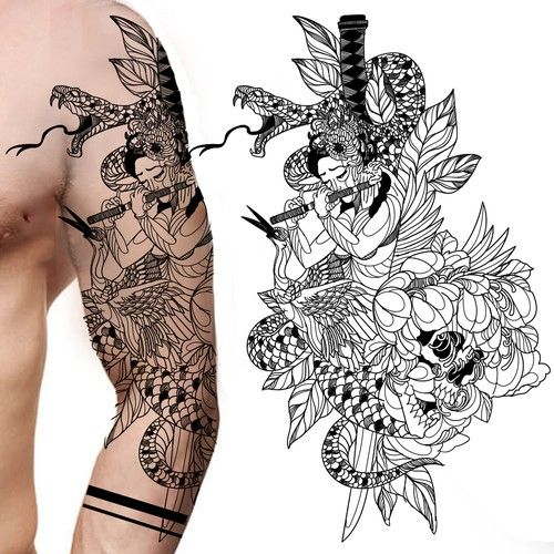 Shoulder and full sleeve not so traditional tattoo | Tattoo contest