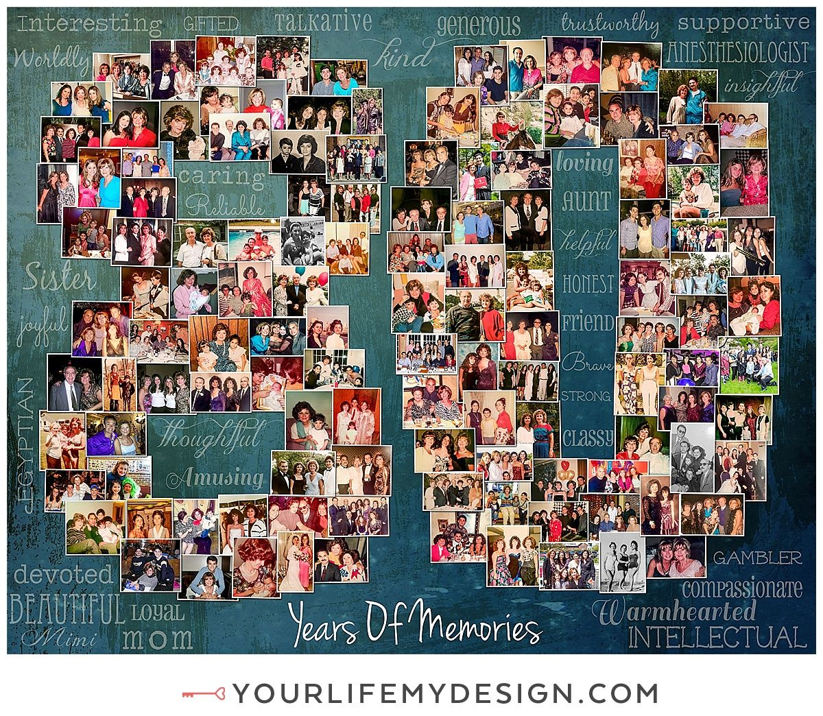 80th Wedding Anniversary Gift: 24x30 With 125 Photos, 80th Birthday Number Collage