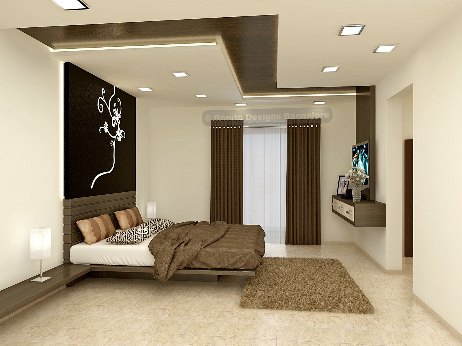 Stunning Master bedroom design with simple and elegant CNC cutting  headboard.