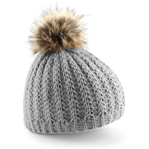770ef08eae375 Stay warm in style this winter wearing our grey Women s fur pom pom beanie  hat. Hand-knitted feel - sumptuous ribbed knit with luxury faux fur pom pom.
