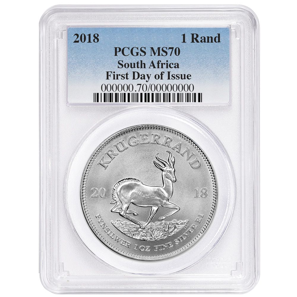 2018 Silver Krugerrand 1 Oz Pcgs Ms70 First Day Of Issue Silver Krugerrand Pcgs Silver