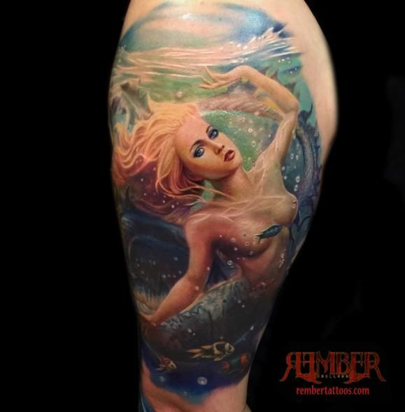 Sleeve Ink Tattoo Arm Color Tattoo Mermaid Saint: Mermaid Fantasy In Full Color By Rember Orellano (Dark Age