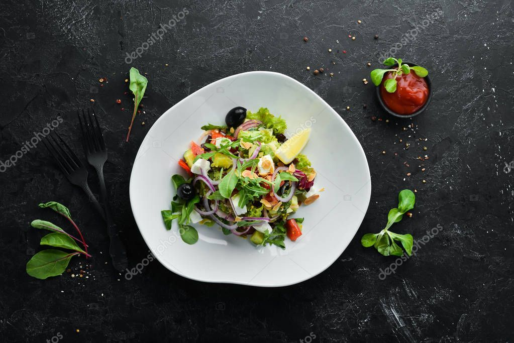 Salad Tomatoes Onions Olives Feta Cheese Food Top View Free - Stock Photo ,