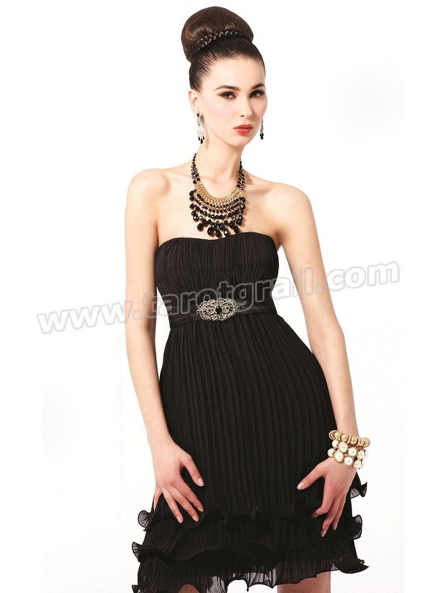 Black chiffon strapless empire waist pleated mini tiered skirt
