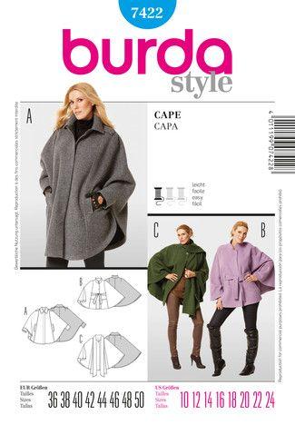 Schnittmuster: Cape - Capes - Mäntel - Damen - burda style | Ponchos ...