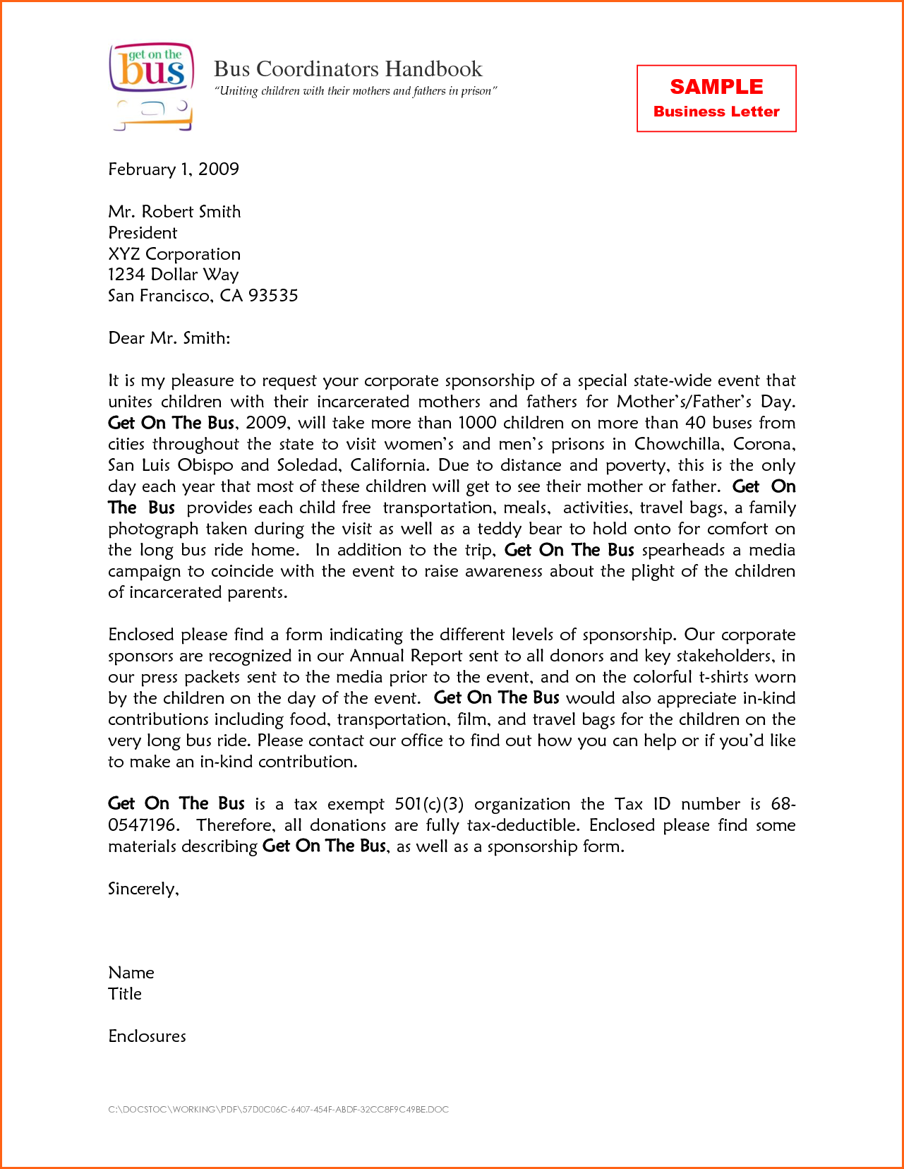 Standard Business Letter Format For Kids Sample Examples Students