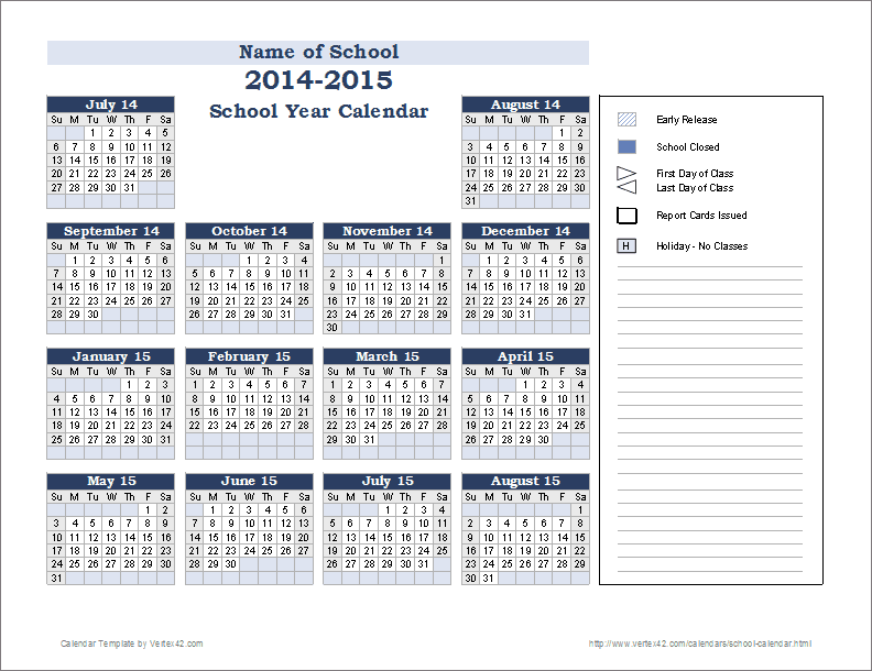 Vertex42 Offers Several Free School Calendar Template Downloads