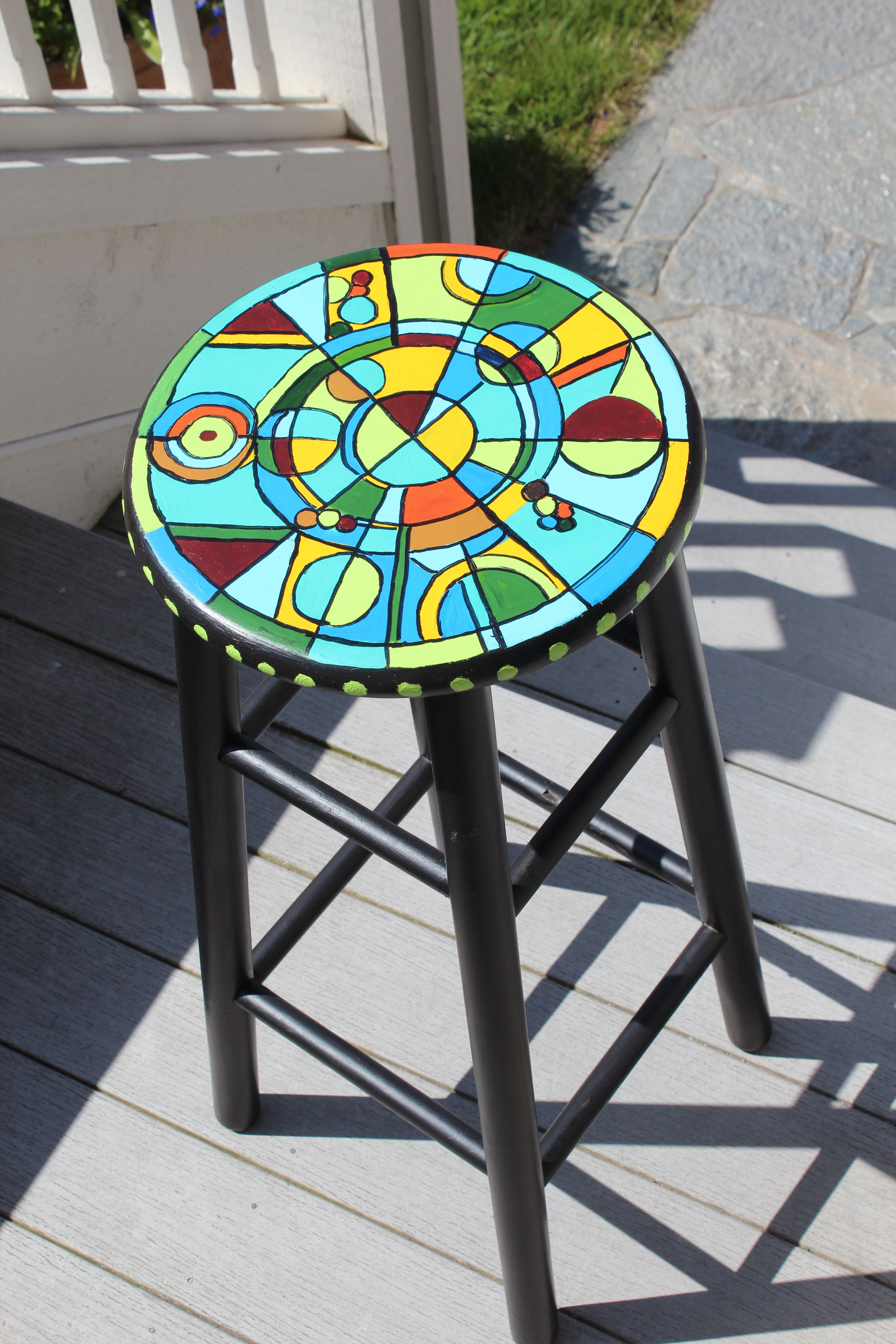 Hand Painted Stool Art Pinterest Hand Painted Stools