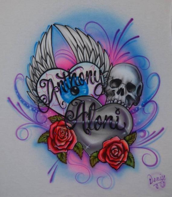 17edd6f1153ec Flying Eyeball Double Hearts with Skull And RosesDesign Custom ...