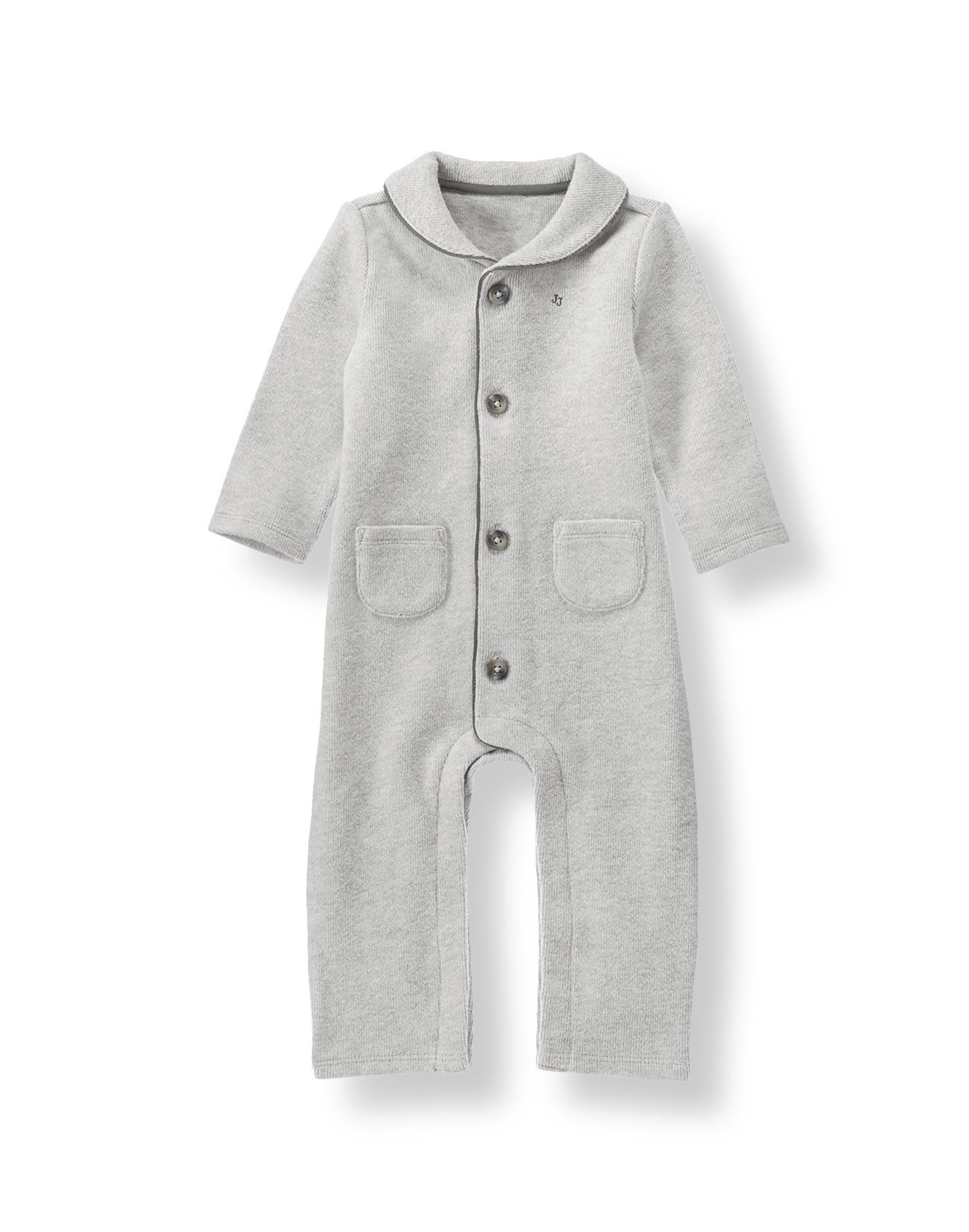 Our exceptionally soft sueded cotton one-piece makes the perfect first gift. Charming design features a shawl collar, front pockets and piping.