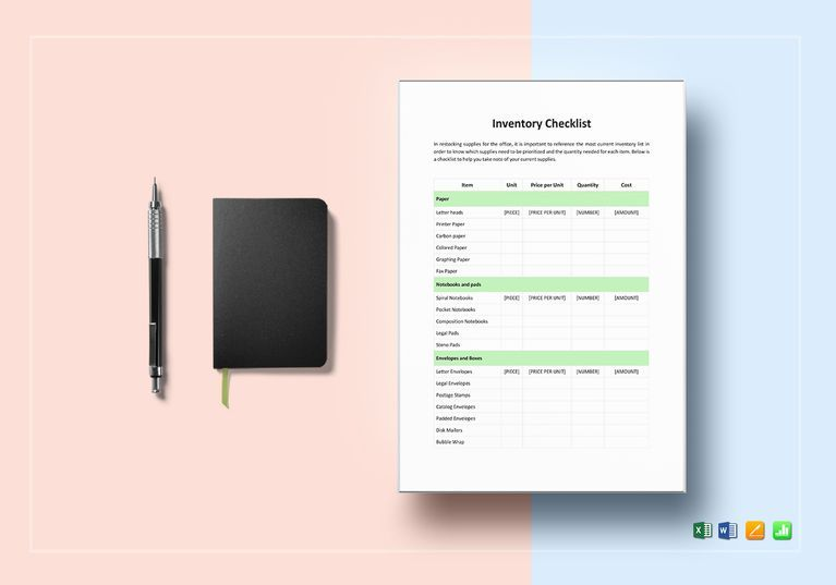 Inventory Checklist Template $12 Formats Included  MS Word, MS - inventory checklist template