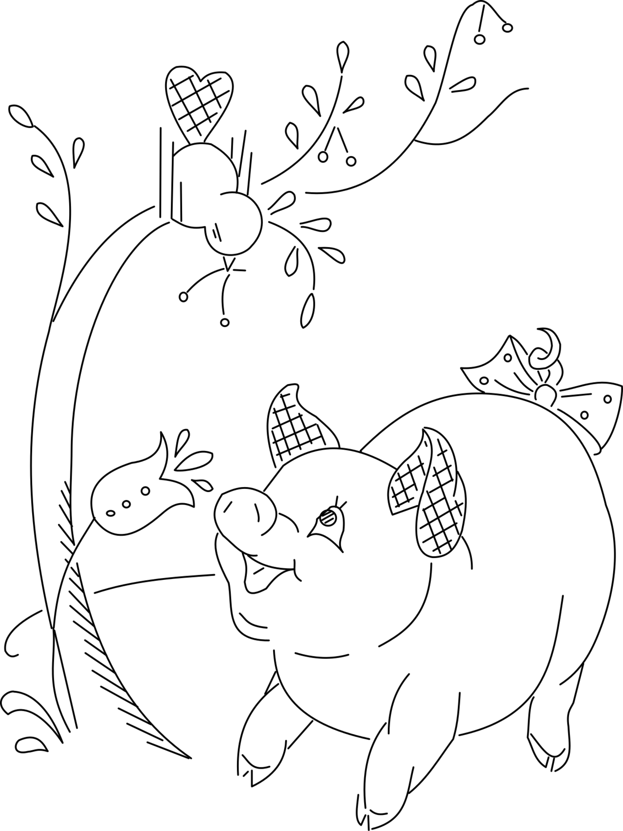 A very cute pig and a bird with some cherries. Adorable